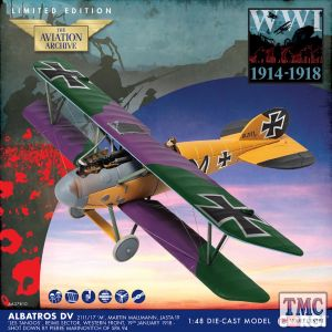 AA37810 Corgi 1:48 Scale Albatros D.V 2111/17 'M', Martin Mallmann, Jasta 19 'Les Tangos', Western Front, Jan 1918, Shot down by 'The Grim Reapers'. WWI