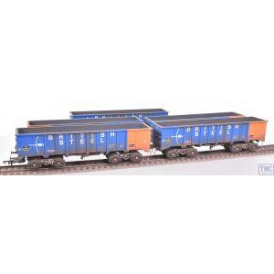 ACC2103-BSB Accurascale OO Gauge PTA/JTA+JUA Tippler 5 Pack British Steel Blue TOPS with Deluxe Weathering by TMC