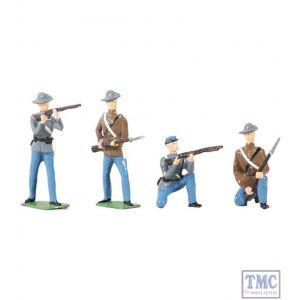 B49025 W.Britain American Civil War Confederate Infantry Set 4 Piece Set Archive Collection