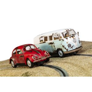 C3966A Scalextric VW Beetle and Camper Van – Rusty Rides Edition Twin Pack