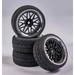 C900158 Carson RC1:10 Wheel Set Y-Design1 (4) bl./chrome