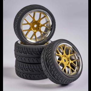 C900163 Carson RC1:10 Wheel Set Y-Design2 (4) gold/chrome