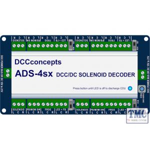 DCD-ADS-4sx DCC Concepts N/HO/OO Accessory Decoder CDU Solenoid Drive SX 4-Way with Power-Off Memory and Protective Case