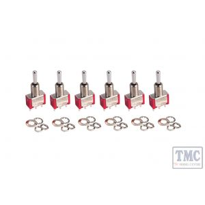 DCD-ATS DCC Concepts Alpha Toggle Switch (6-Pack of On-Off-On Sprung Toggle Switches)