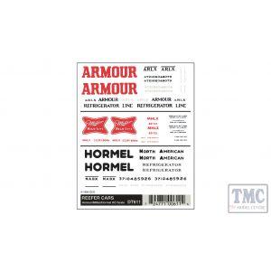 DT611 Woodland Scenics HO Scale Reefer Cars - Armour/Miller/Hormel