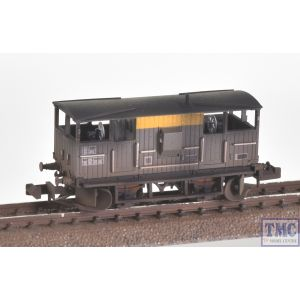 E87518 EFE Rail N Scale BR 20T 'Shark' Ballast Plough Brake Van BR Engineers Grey & Yellow