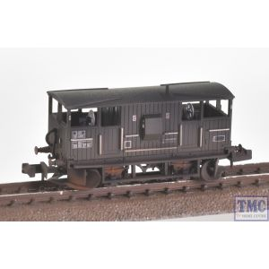 E87519 EFE Rail N Scale BR 20T 'Shark' Ballast Plough Brake Van BR Departmental Olive Green