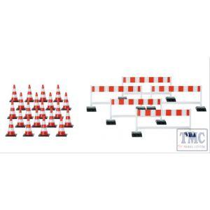 HA052566 Herpa OO Scale Basic Traffic Cones (20) and Traffic