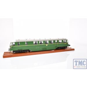 1904 Heljan O Gauge AEC 'Razor Edge' Railcar GWR BR green with speed whiskers (white cab roof)