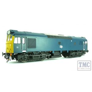 2558 Heljan O Gauge Class 25/3 BR blue with full yellow ends; TOPS era with single double arrow centrally on the bodyside