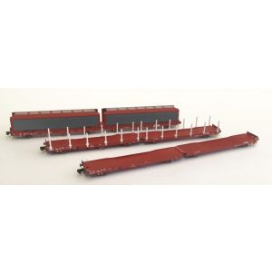 OO-FWA-4101D Revolution Trains OO Gauge Ecofret FWA Container Flats VTG green (as used by Freightliner) Twin Pack