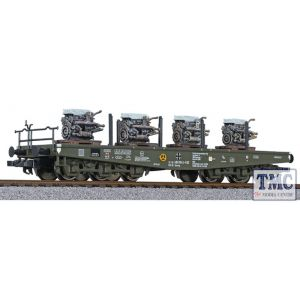 L235742 Liliput HO Scale 6-axle transport wagon, SSyms, Bundeswehr, Ep.IV, loaded