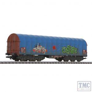 L235779 Liliput HO Scale Steel Transport Wagon Blue Tarpaulin DB Ep.V Weathered