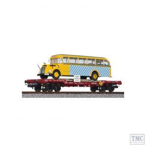 L235782 Liliput HO Scale Flat Wagon OBB with omnibus 'Graef+Stift' SLB Ep.V