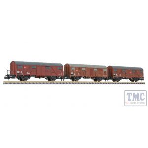 L260136 Liliput N Scale 3-tlg. Set Transportwagnon with Break. Gos 245 DB Ep. V