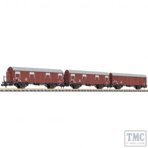 L260146 Liliput N Scale 3-unit closed wagon type Glmhs 50 wooden cabin DB Ep.III