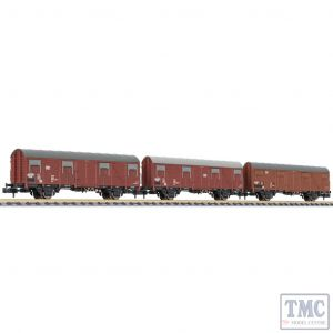 L260149 Liliput N Scale 3-unit closed wagon Gbs 245 wooden walls no platform DB EpIV