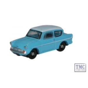 N105007 Oxford Diecast 1:148 Scale Caribbean Turquoise/White Ford Anglia