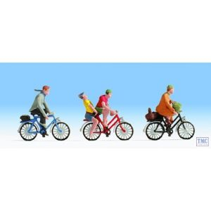 N36898 Noch N Scale Cyclists (3) and Accessories Figure Set