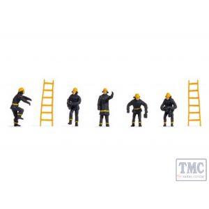 N38001 Noch N Gauge Firemen (5) & Ladders (2) Hobby Figure Set