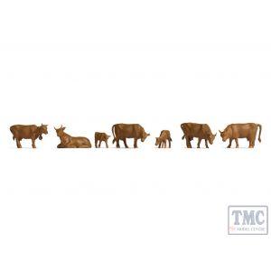 N38216 Noch N Gauge Brown Cows (9) Hobby Figure Set