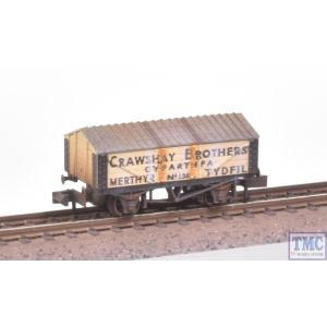 NR-P112 Peco N Gauge Lime Wagon (with roof) Crawshay (Stone colour) with Extra Detail Weathering by TMC