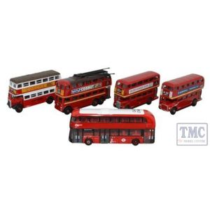NSET004 Oxford Diecast 1:148 Scale 5 Piece Bus Set London Transport
