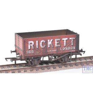 OR76MW7022 Oxford Rail OO Gauge 7 Plank Wagon Rickett no.3 (Disc Wheels) Weathered by TMC