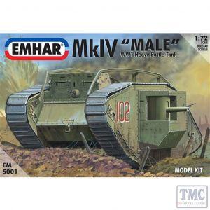PKEM5001 Emhar 1:72 Scale Mk IV 'Male' WWI Heavy Battle Tank