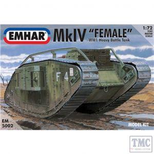 PKEM5002 Emhar 1:72 Scale Mk IV 'Female' WWI Heavy Battle Tank