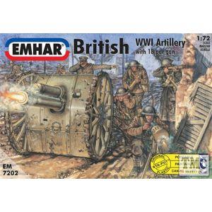 PKEM7202 Emhar 1:72 Scale British Artillery WWI Figures & 18lb Gun