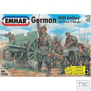 PKEM7204 Emhar 1:72 Scale German Artillery WWI Figs & Cannon