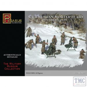 PKPG7273 Pegasus 1:72 Scale WWII Russian Mortar Teams in Greatcoats