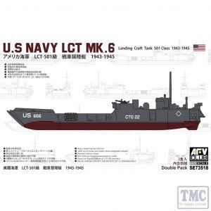 PKSE73518 AFV Club 1:350 Scale US Navy LCT Mk 6 (Landing Craft, Tank, 501 Class) 1943-45
