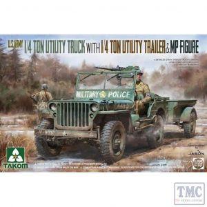 PKTAK02126 Takom 1:35 Scale U.S. Army ¼ton Utility Truck with ¼ton Utility Trailer + MP