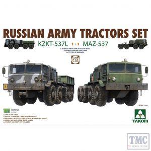 PKTAK05003 Takom 1:72 Scale Russian Army Tractors KZKT-537L & MAZ-537 1+1
