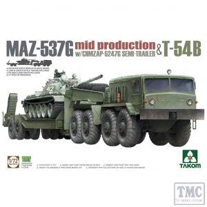 PKTAK05013 Takom 1:72 Scale MAZ-537G w/ChMZAP-5247G Semi-trailer Mid-production & T-54B