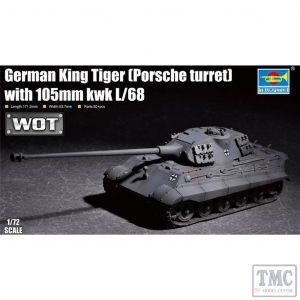 PKTM07161 Trumpeter 1:72 Scale German King Tiger (Porsche turret) w/ 105mm KwK L/68
