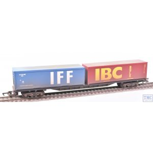 R6425 Hornby OO Gauge Railroad BR FFA Container Wagon (with two 30ft containers)(Era 7) VALUE Weathered by TMC