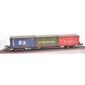 R6956 Hornby OO Gauge Tiphook KFA Container wagon 93367 with 20' and 40' ONE containers - Era 11