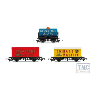 R6990 Hornby OO Gauge Hornby 'Retro' Wagons three pack Crawfords Biscuits Seccotine Tanker Coleman's Mustard