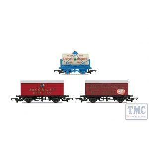 R6991 Hornby OO Gauge Hornby 'Retro' Wagons three pack United Dairies Tanker Jacob's Biscuits Palethorpes