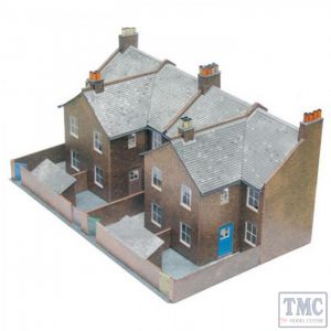 C5 Superquick OO/HO Four Red Brick Terraced Backs - Card Kit