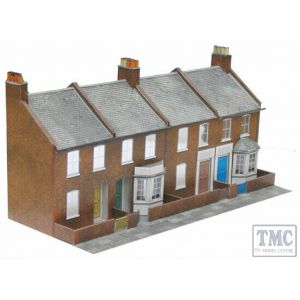 C6 Superquick OO/HO Four Red Brick Terraced Fronts - Card Kit