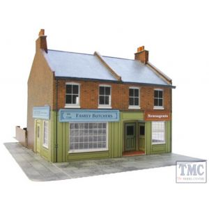 C7 Superquick OO/HO Red Brick Terrace Corner Shops - Card Kit