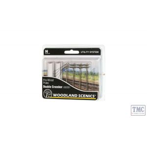 US2251 Woodland Scenics N Scale Wired Poles Double Crossbar