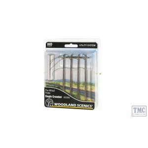 US2265 Woodland Scenics OO/HO Scale Wired Poles Single Crossbar