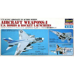 Hasegawa Aircraft Weapons: I  U.S. Bombs & Rocket Launchers Kit No X72-1 1:72 (Pre owned)